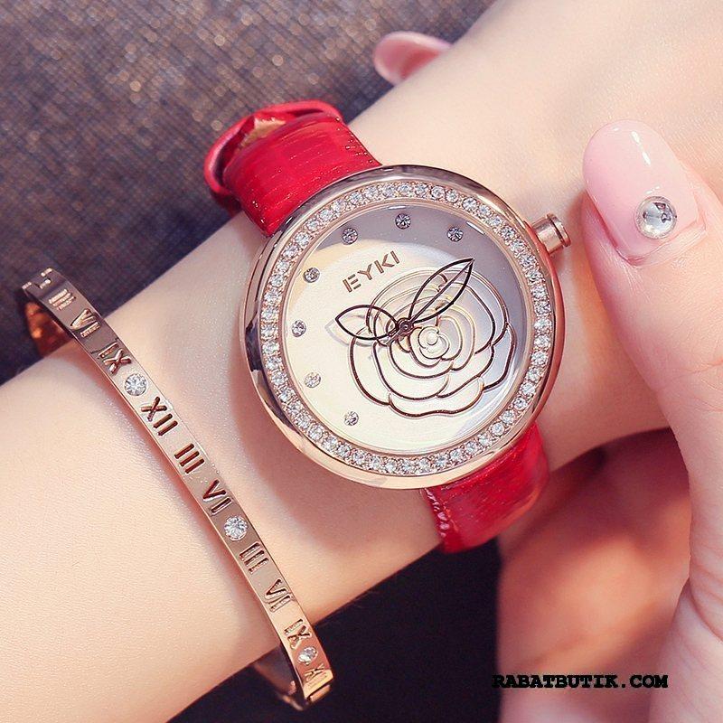 Armbåndsure Dame Billige Kvinder Fødselsdagsgave Trend Damer Studerende Rød