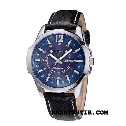 Armbåndsure Herre Rabat Mode Trend Kalender Kvarts Ur Stor Sølv Sort Blå