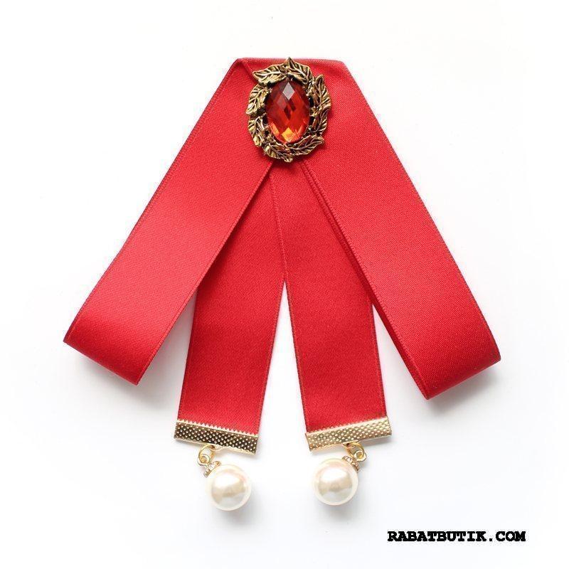 Butterfly Dame Billige Collar Blomst Steward Skjorte Dekoration Kvinder Rød Sølv