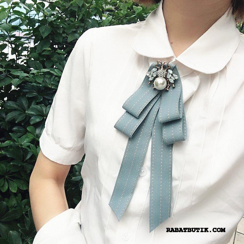 Butterfly Dame Køb Kvinder Stribede Collar Blomst Perle Britisk Sølv Blå