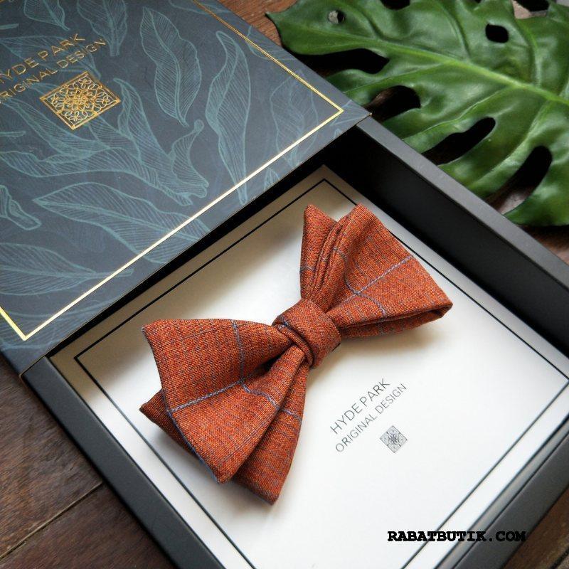 Butterfly Herre Butik Ægteskab Mænd Forlovere Bomuld Og Linned Vintage Gul Brun Orange