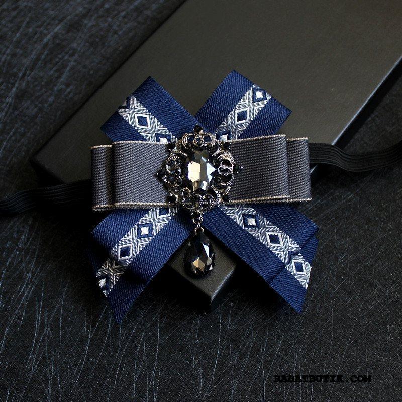 Butterfly Herre Køb Forlovere Mænd Strass Ægteskab Collar Blomst Blå
