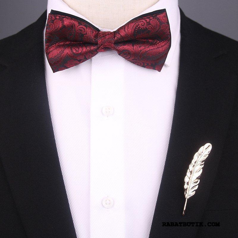 Butterfly Herre Udsalg Tørklæde Slips Fødselsdagsgave Corsage Ægteskab Rødvin Rød Blå