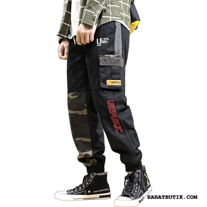 Cargo Bukser Herre Billige Casual Bukser Stramme Trend Hip-hop Trendy Camouflage Sort