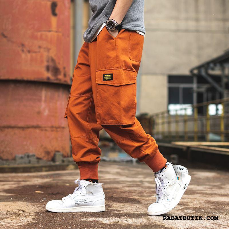Cargo Bukser Herre Tilbud Lige Casual Bukser Trendy Forår Stramme Orange