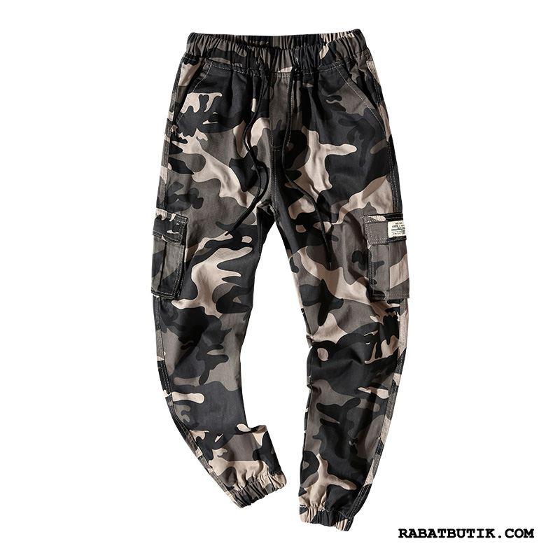 Cargo Bukser Herre Udsalg Stramme Store Størrelser Fritids Trend Sommer Camouflage Khaki