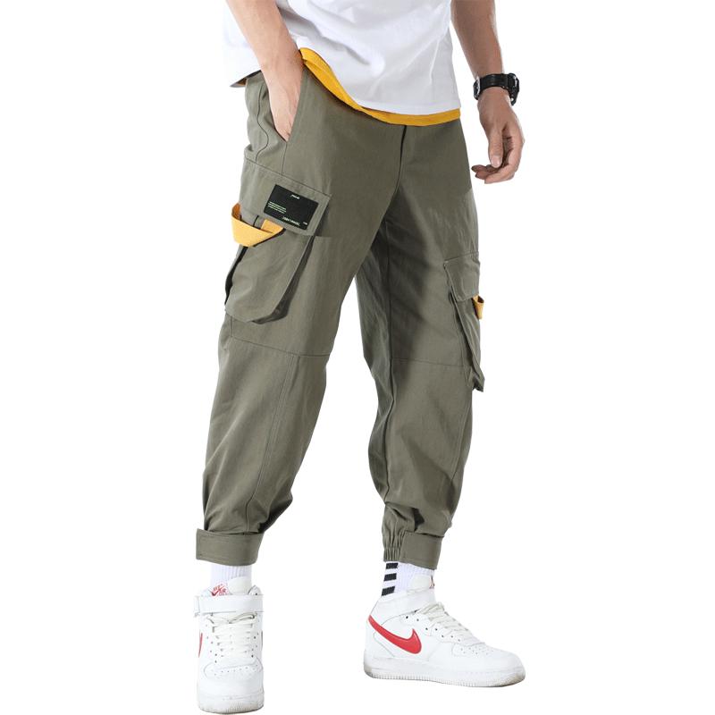 Cargo Bukser Herre Udsalg Trend Harlan Stramme Trendy Mode Militærgrøn