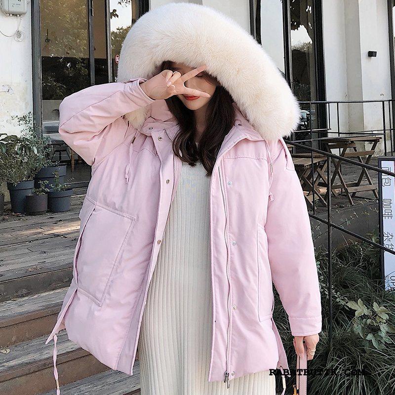 Dunjakker Dame På Udsalg Brede Tykke Tynde Ræv 2019 Pink Hvid
