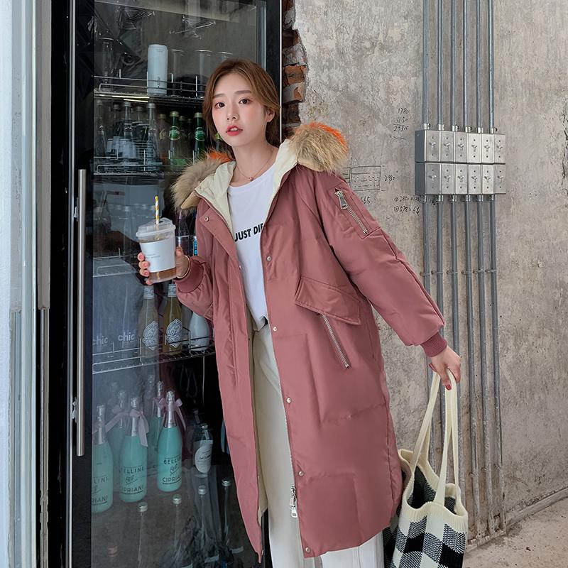 Dunjakker Dame Rabat Elegante Med Hætte 2019 Frakke Ny Pink