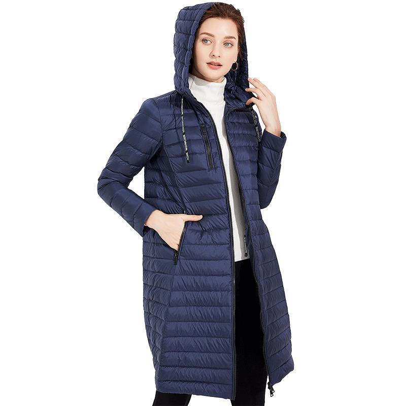 Dunjakker Dame Rabat Frakke Slim Fit 2019 Ny Hjorte Marineblå Hvid