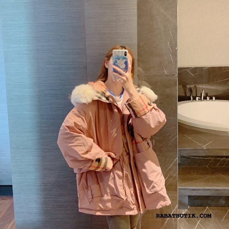 Dunjakker Dame Rabat Ny 2019 Mode Trend Tykke Lyserød Hvid