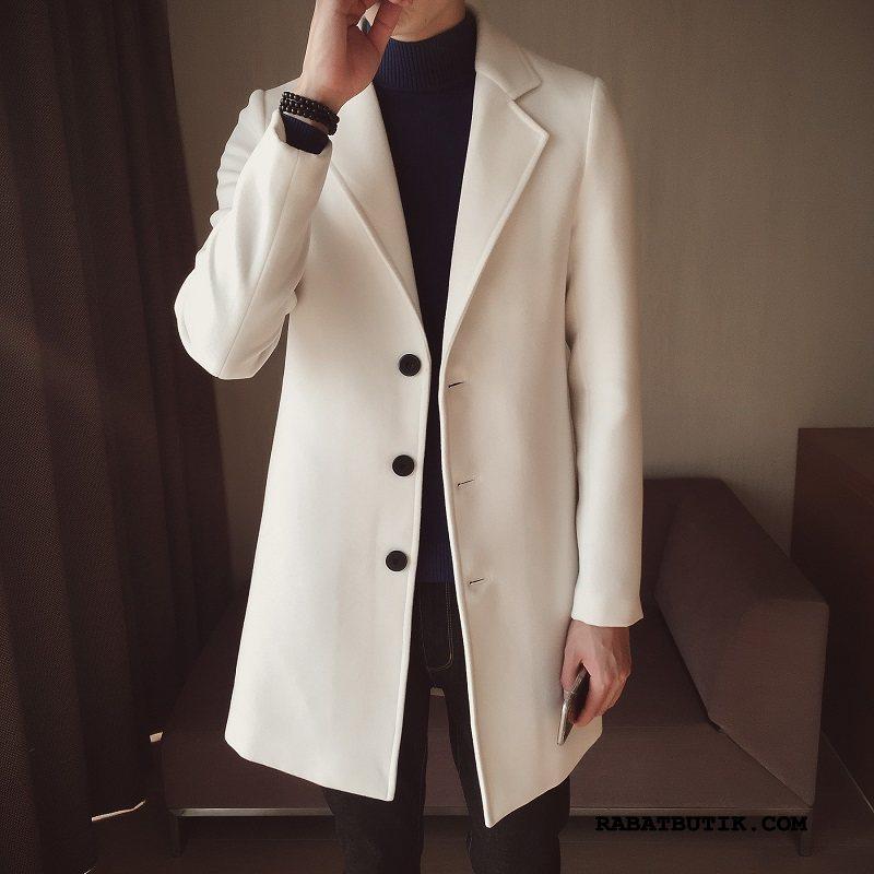Frakker Herre Billige Efterår Trend Slim Fit Trenchcoat Smuk Hvid