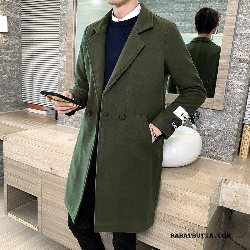 Frakker Herre Billige Mænd Trend Uldfrakke Mode Lange Militærgrøn