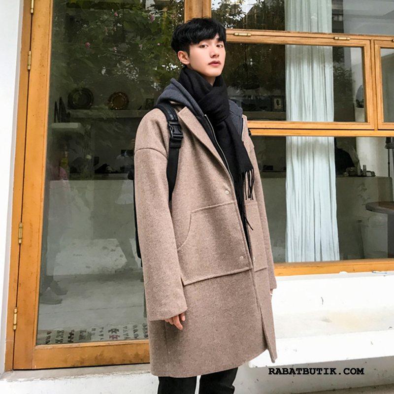 Frakker Herre Butik Ny Med Hætte Studerende Vinter 2019 Khaki
