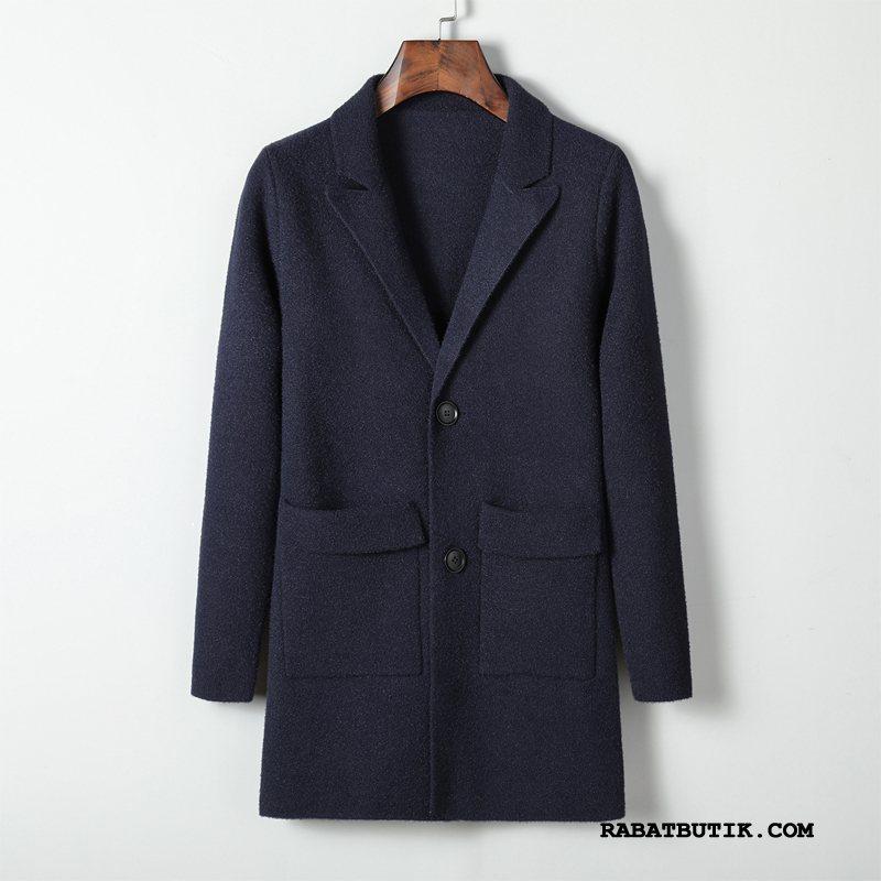 Frakker Herre Online Mode Cardigan Efterår Trenchcoat Forår Blå