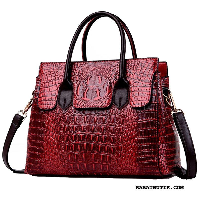 Håndtasker Dame Billige Elegante Ægte Læder Ny Kvinder Europa Rødvin