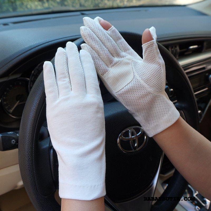 Handsker Dame Butik Sommer Berøringsskærm Halvfinger Kvinder Mesh Hvid