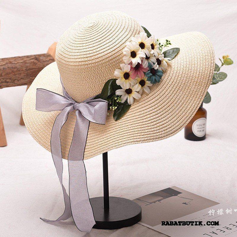 Huer Dame Køb Rejse Stor Sommer Blomster Britisk Sand Brun