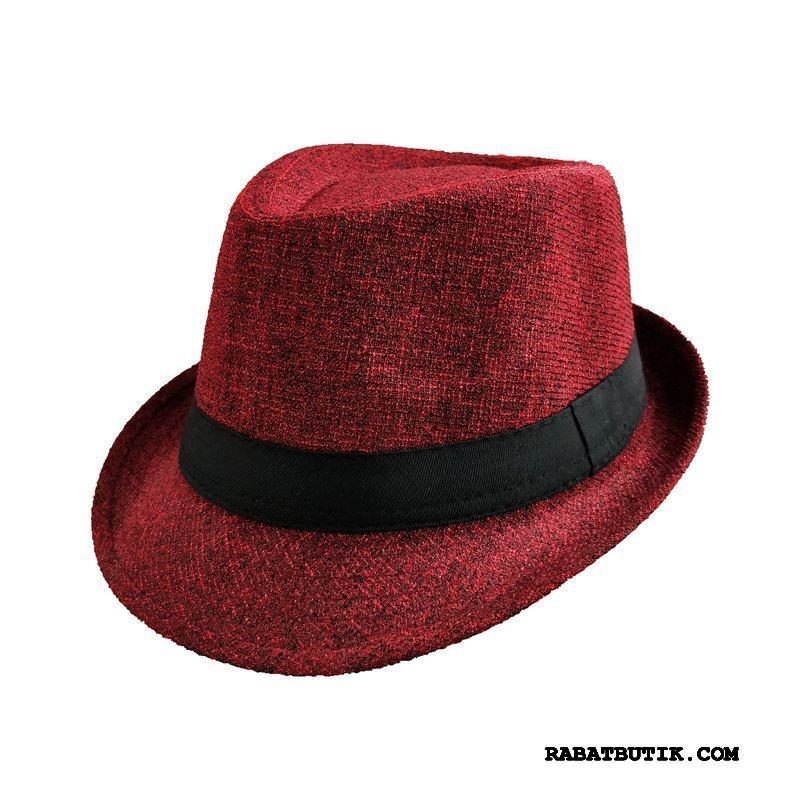 Huer Herre Tilbud Forår Vintage Casual Gentleman Jazz Rød