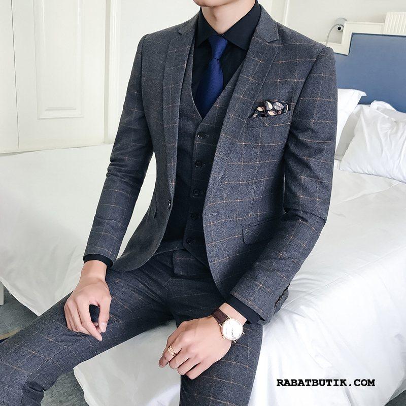 Jakkesæt Herre Butik Mode Personlighed Vis Elegante Smuk Grå Lyse