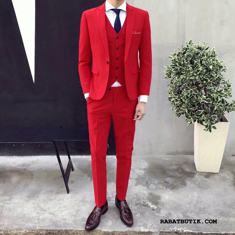Jakkesæt Herre Salg Arbejde Mænd Smuk Trendy Mode Rød Lyse