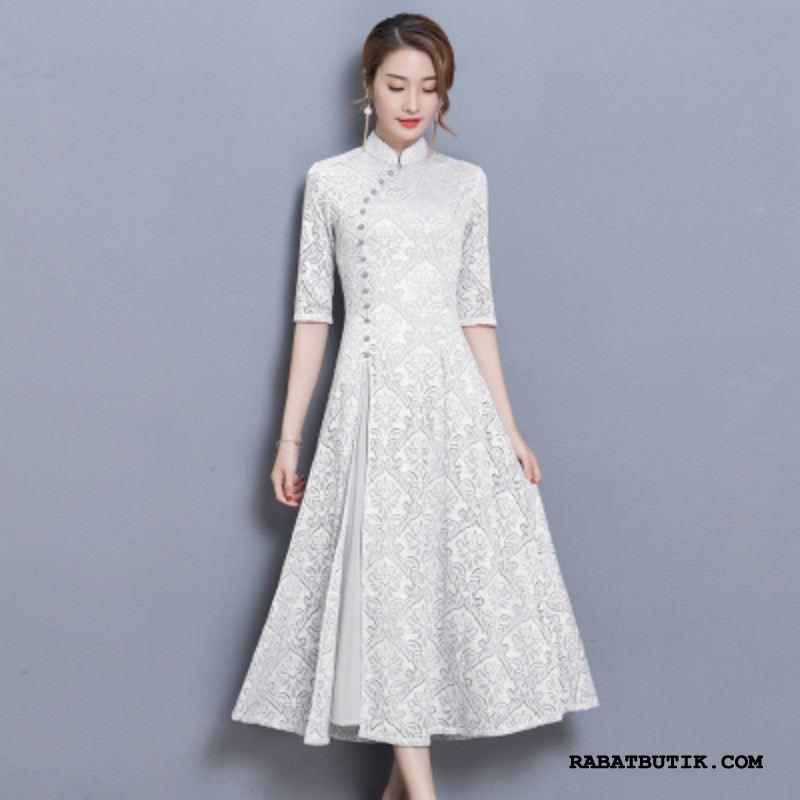 Kjoler Dame Salg Cheongsam Store Størrelser 2019 Lange Kinesisk Stil Hvid
