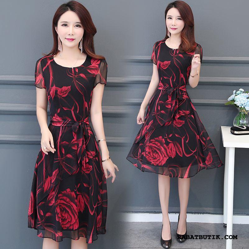 Kjoler Dame Tilbud Mode Elegante Store Størrelser Kvinder Mor Rød