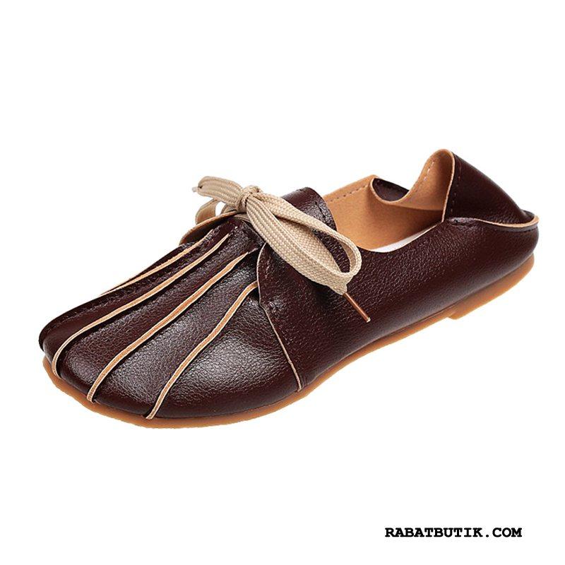 Mokassiner Dame Billig Vintage Enkelt Sko Flade Studerende Hyttesko Brun