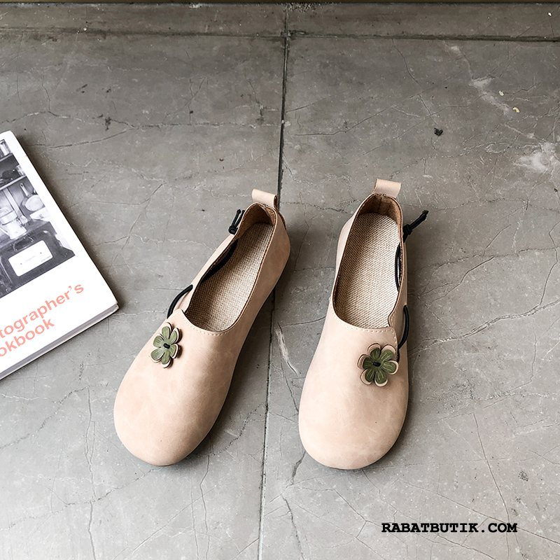 Mokassiner Dame Billige Slip On Flade Enkelt Sko Alt Matcher Vintage Lyserød Lyse