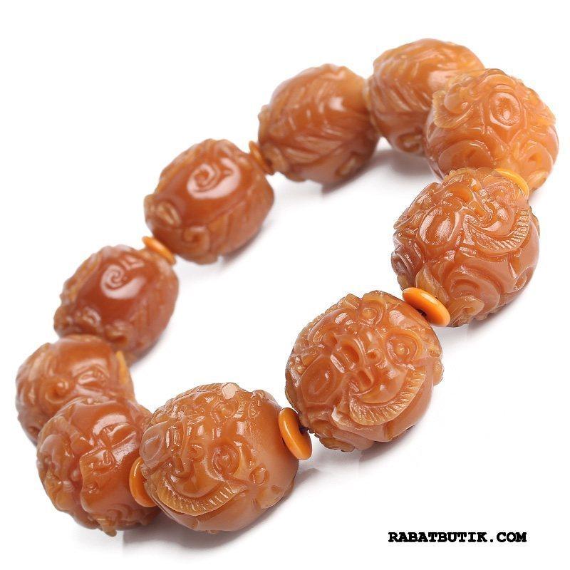 Perle Armbånd Herre Billige Dragon Kvinder Naturlig Mænd Orange Guld