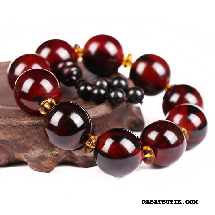 Perle Armbånd Herre Billige Naturlig Kvinder Mænd Silke Rød