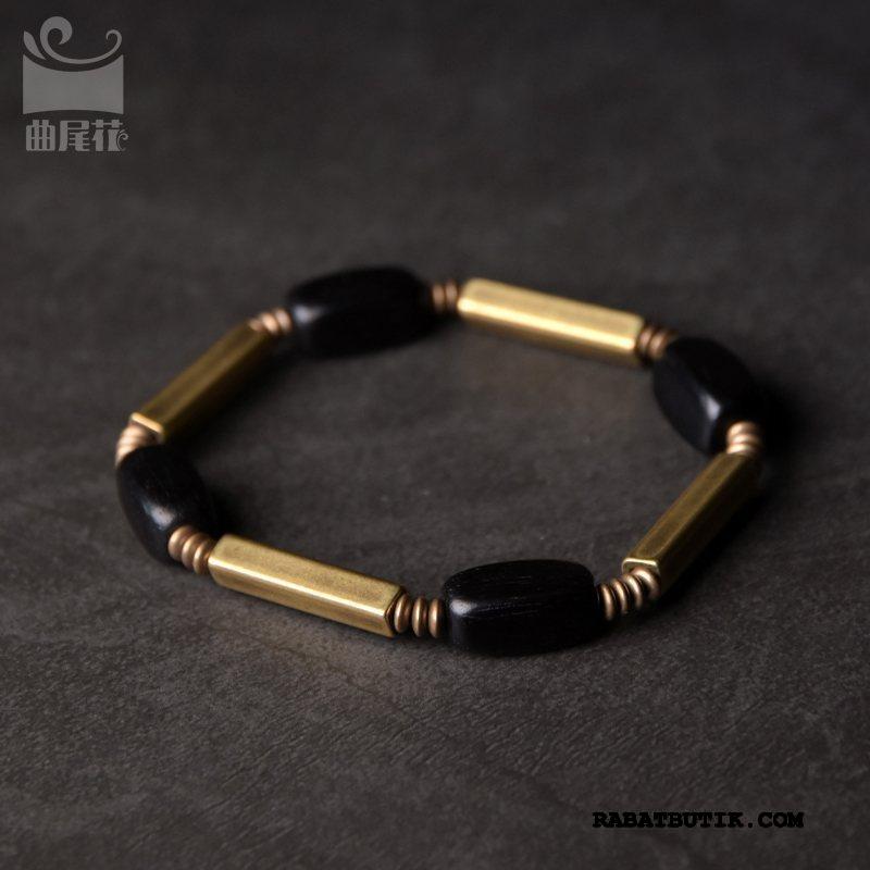 Perle Armbånd Herre På Udsalg Personlighed Sandeltræ Blomster Mænd Vintage Gul Kobber Sort Guld