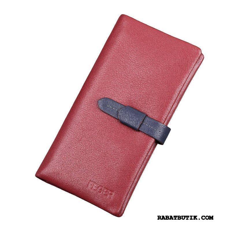 Punge Herre Billige Blødt Læder Mænd Simpel Langt Korttaske Rød
