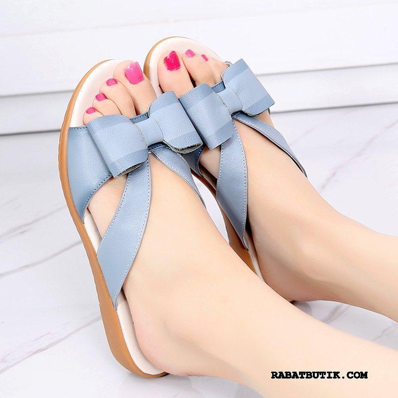 Sandaler Dame Billige Kvinder Bløde Såler Hjemmesko Flade Overtøj Himmelblå