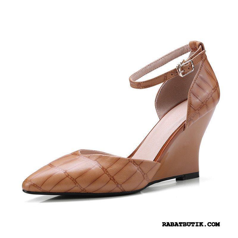 Sandaler Dame Billige Med Kilehæl Høje Hæle Sko Ægte Læder Kvinder Frisk Brun