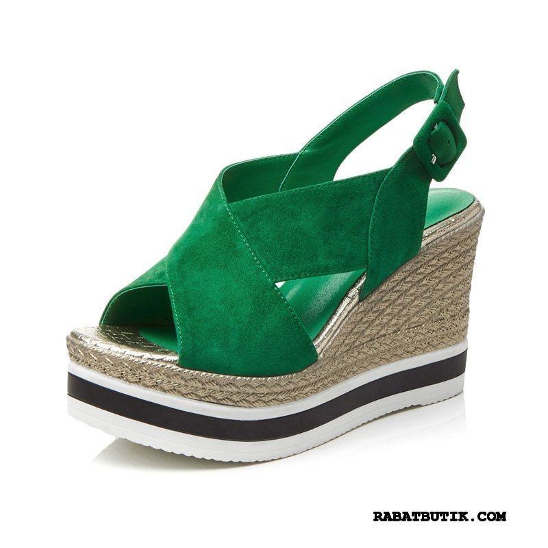 Sandaler Dame Butik Fisk Mund Høje Hæle Sko Tykke Såler Platform Sko Halm Rød Grøn