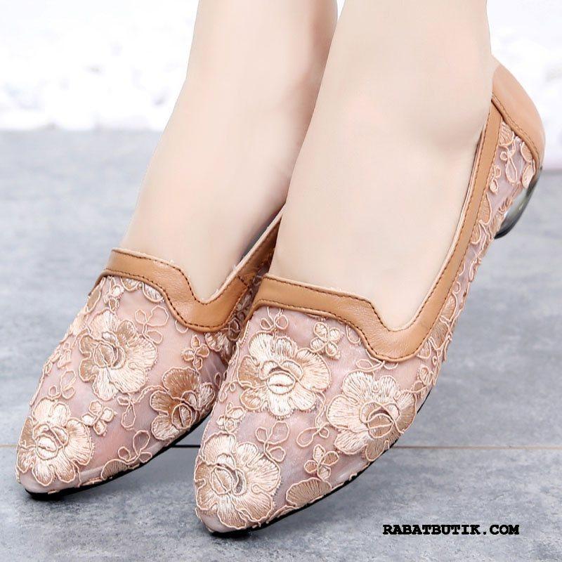 Sandaler Dame Køb Mode Store Størrelser Bløde Såler Sommer Ægte Læder Lyserød Abrikosfarve