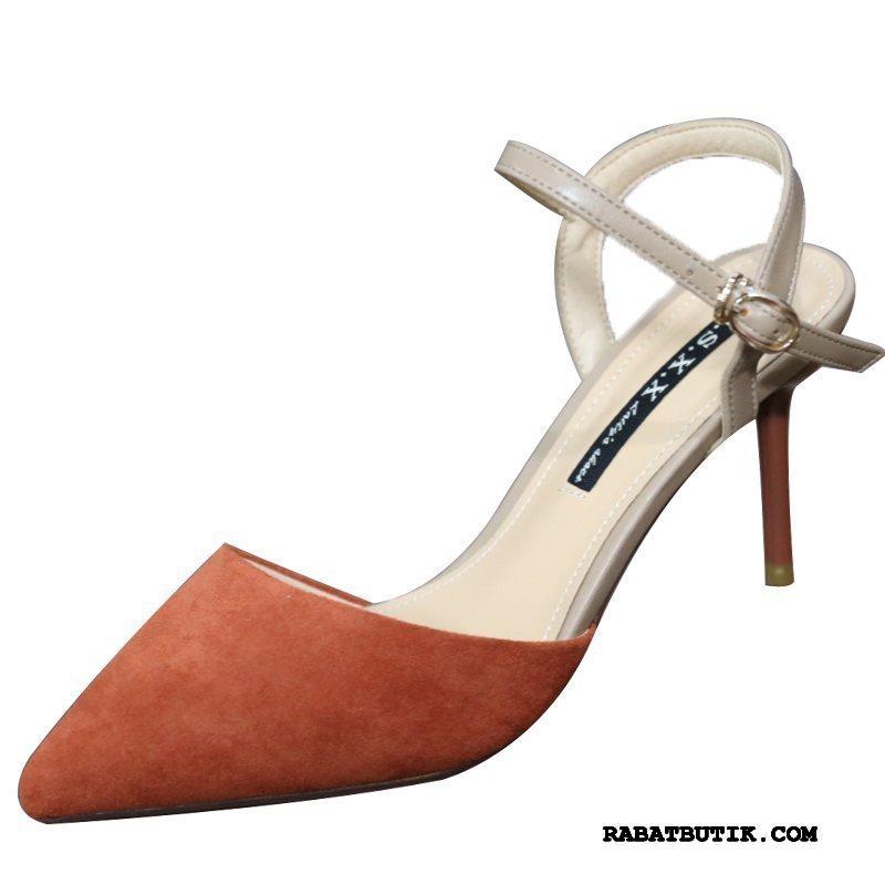 Sandaler Dame På Udsalg Høje Hæle Sko 2019 Tynd Hæl Ruskind Kvinder Orange