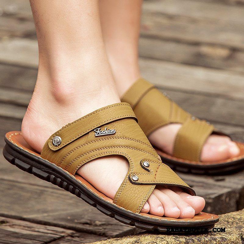 Sandaler Herre Billig Trend Overtøj Rejse Skridsikre Mænd Khaki Sand