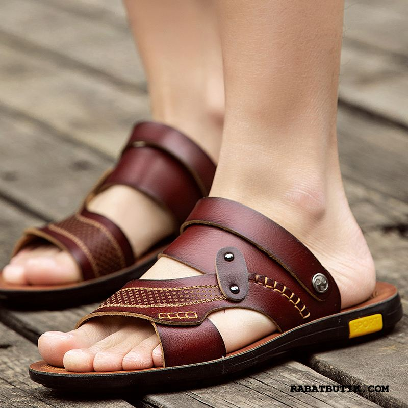 Sandaler Herre Billige Sommer Trend Skridsikre Klip Klapper Hjemmesko Sand Brun