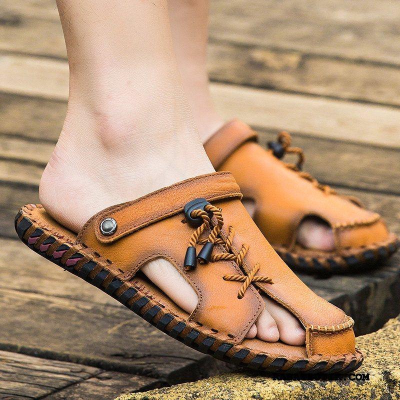 Sandaler Herre Butik Trend Casual Fritids Mænd Køre Ægte Læder Gul Sand