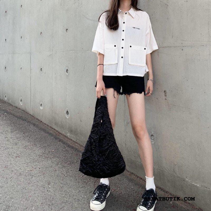 Skjorter Dame Tilbud Brede Japansk Kvinder Kortærmet Skjorte Lille Sektion Ren Hvid
