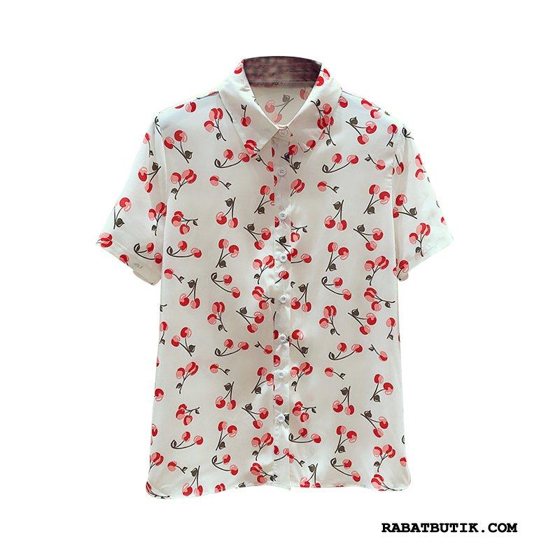 Skjorter Dame Udsalg Lille Sektion Kort Ærme Tynde Bluser Skjorter Mode Hvid Fersken Puffer
