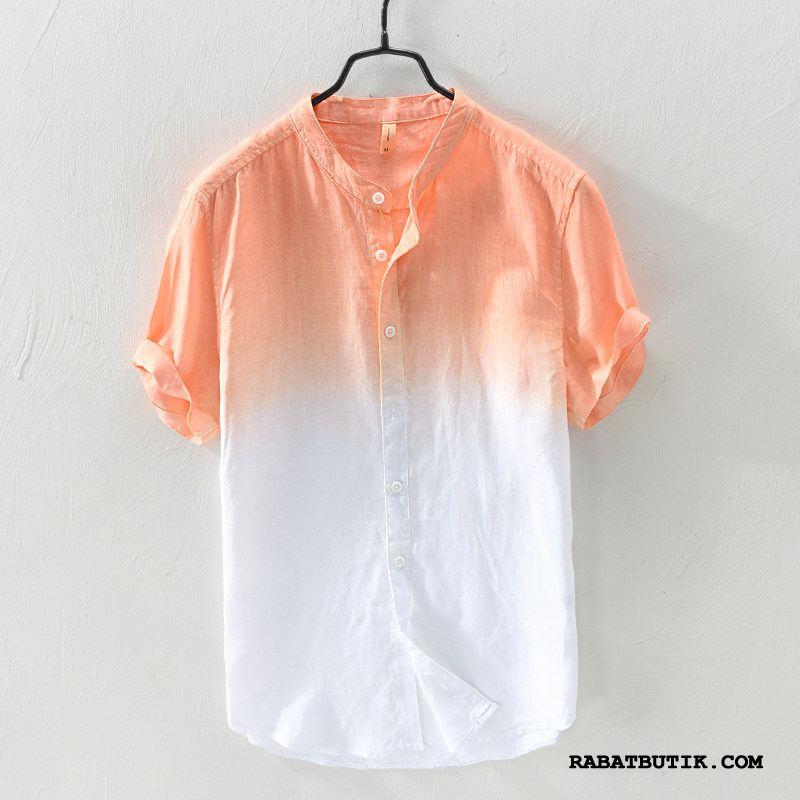 Skjorter Herre Billige Bomuld Og Linned Sommer Mænd Trend Høj Krave Gradient Farve Farve Sand Orange Cyan