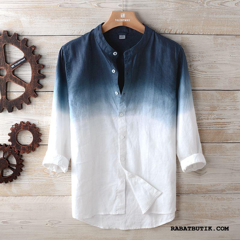 Skjorter Herre Billige Lille Sektion Høj Krave Ærme Mænd Brede Gradient Farve Cyan Blå