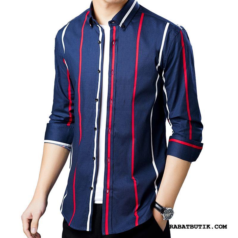 Skjorter Herre Billige Mænd Trend Slim Fit Stribede Lange Ærmer Marineblå Rød Cyan