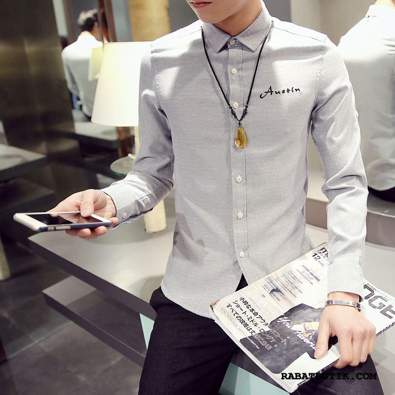 Skjorter Herre Billige Slim Fit Simple Lange Ærmer Trend Smuk Hvid Grå