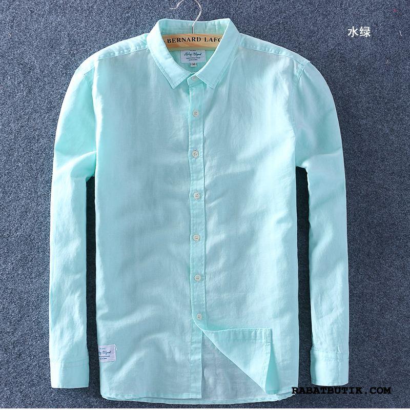 Skjorter Herre Køb Kortærmet Skjorte Tynde Lille Sektion Bomuld Og Linned Firkantet Hals Hvid Grøn Blå