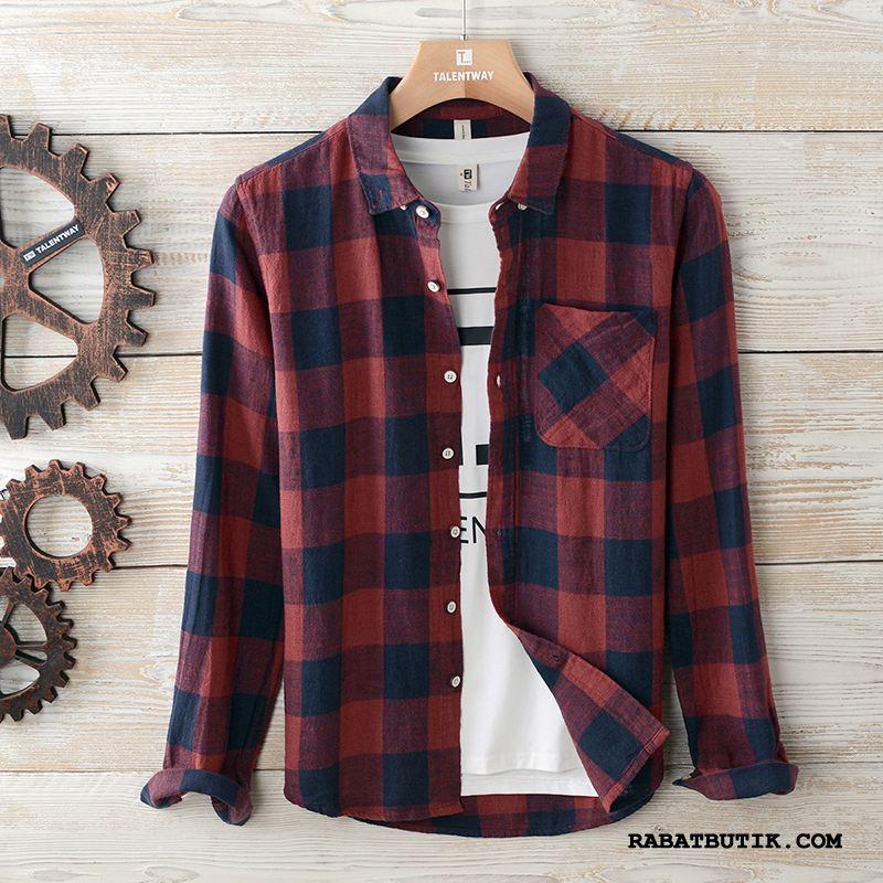 Skjorter Herre På Udsalg Vintage Mænd Trend Overtøj Ternede Rød