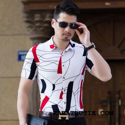 Skjorter Herre Salg Tynde Sommer Kortærmet Skjorte Store Størrelser Mænd Hvid Cyan
